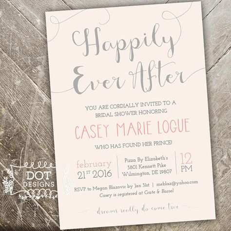 Happily Ever After  Bridal Shower Invitation  by MBdotDesigns