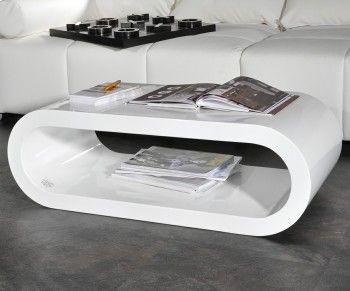 Couchtisch Lounge Club Deluxe 90x45 cm Weiss Hochglanz Cube oval Lifestyle Produkte Tische Couchtische