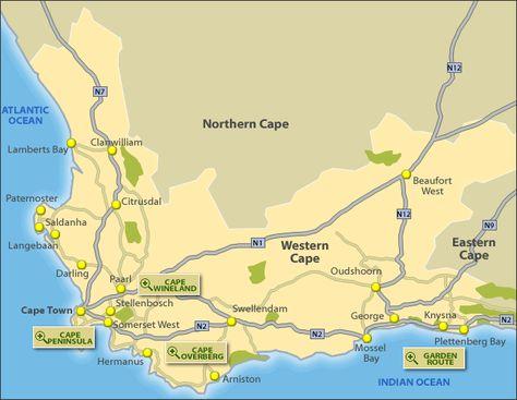 nombreux dans la variété bas prix ventes spéciales Tourist Map of Western Cape, South Africa | Tourist map ...