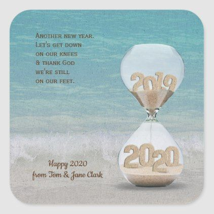 New Year Hourglass For 2020 On The Beach Square Sticker Ocean Side Nature Waves Freedom Design Beach Cards White Elephant Gifts Funny Happy New Year Design