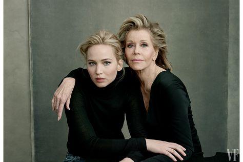 Jane Fonda with Jennifer Lawrence, Vanity Fair's 2016 Hollywood Portfolio. Photo by Annie Leibovitz.