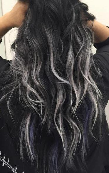Black Hair With Subtle Gray Highlights Hair Color For Black Hair Hair Highlights Black Hair With Highlights