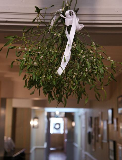Hang large bunches of mistletoe above doorways for that wonderful festive feel at your winter wedding at Pentney Abbey in Norfolk