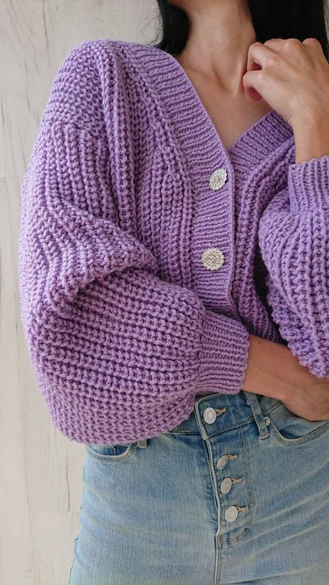 Balloon sleeve crop cardigan for women Rib knit V-neck chunky sweater with button Short hand knit ja