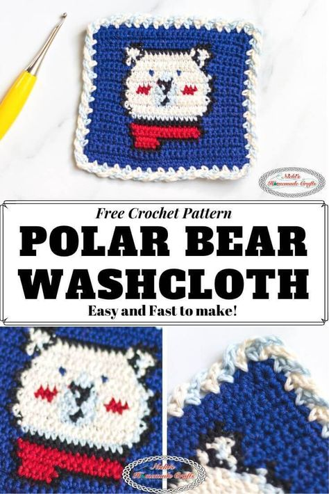 Learn how to crochet the Polar Bear Washcloth which perfect for the entire family as you can make it in any size you wish - just use a heavier yarn weight. This free crochet pattern is easier than you might think. It's the perfect weekend project especially through Winter #crochet #pattern #crochetpattern #freecrochetpattern #crochettechniques  #tutorial #crochettutorial #winter #diy #diyideas #giftideas #washcloth #polarbear #bathroom