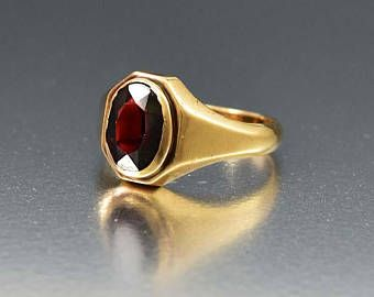 Vintage Garnet Ring 10k Yellow Gold Art Deco Red Gemstone Signet Ring Antique 1920s Art Deco Vintage Jewelry Antique Signet Rings Women Antique Rings Vintage