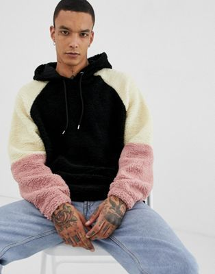 ASOS DESIGN oversized hoodie in borg with colour blocking in