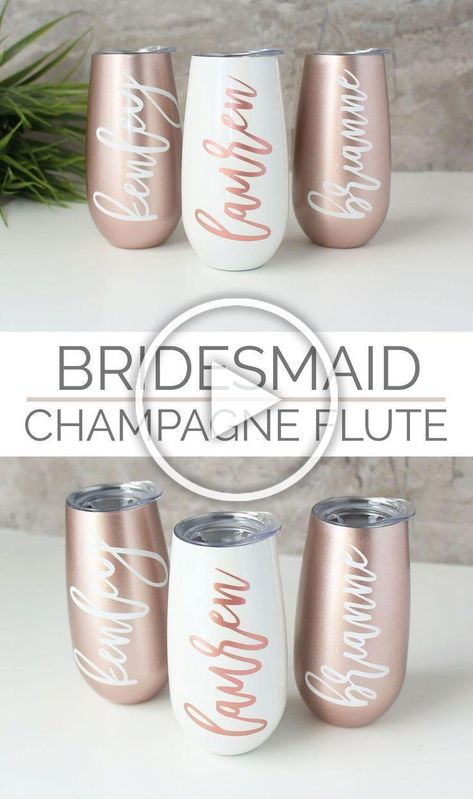 These rose gold champagne flutes / stemless wine glasses with a lid personalized with the name of your choice are a unique bridesmaid gift and wedding keepsake or gift to a friend to keep your beverage cold for up to 24  hours. #bridesmaid #bridesmaidgifts #wedding2019 #bridesmaidproposal