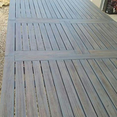 Table salon de jardin en bois renovê avec une ceruse couleur ...