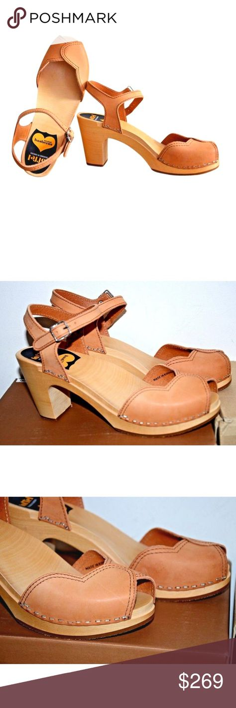 10579295d4ea swedish hasbeens Natural Leather Heart Wood Sandal Swedish Hasbeens Heart  Wooden Platform Sandal Natural Leather 40