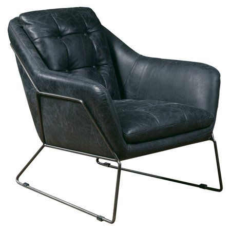 Delacora Hm P006203 Clara 28 3 4 Wide Metal Framed Leather Accent Chair Tobacco Walmart Com Metal Frame Accent Chair Leather Accent Chair Leather Lounge Chair