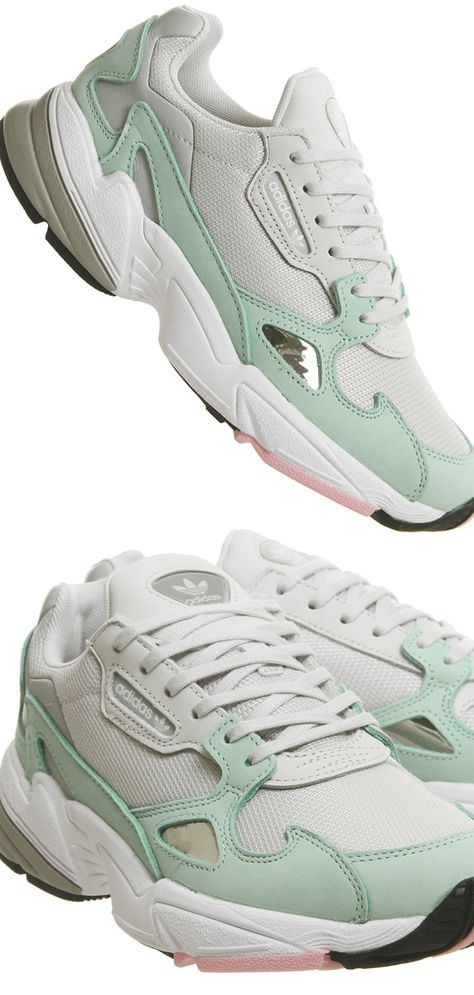 White Pink and Mint Adidas Trainers. Adidas Falcon Trainers