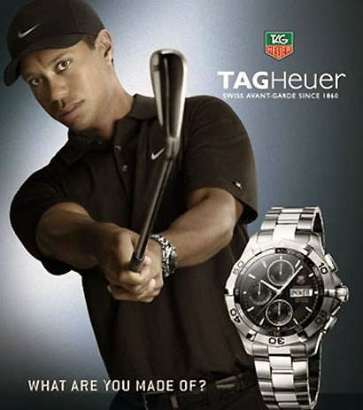 Tiger Woods for a TAG Heuer Ad - Tiger Woods has been dropped by Tag Heuer, another major sponsor, as he continues on his comeback from a series of alleged sex scandals and subsequent divorce. AUG 2011