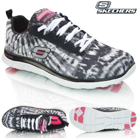 Womens Skechers Flex Appeal Memory Foam Comfort Go Walk Lace