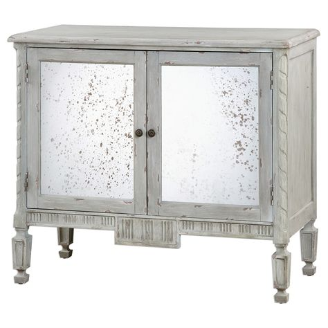 Carved details accented with warm gray glaze with light distressing revealing wood undertones. Mirror is heavily antiqued. Adjustable interior shelf. - Designer: Jim Parsons - Dimensions: 42 x 36 x 19