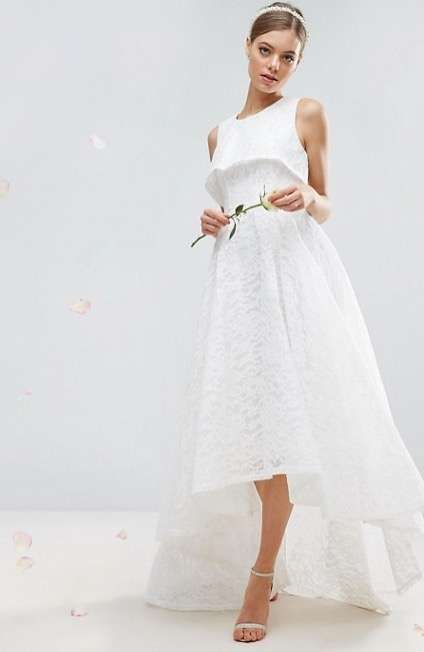 Vestido Asimétrico De Asos Bridal Vestidos De Novia Vestido De Novia Baratos Vestido Encaje Largo