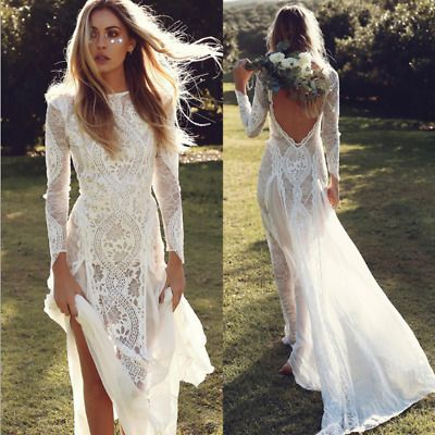 A Line Wedding Dresses 2019 Long Sleeves Backless BOHO Beach Bridal Gown Custom #fashion #clothing #shoes #accessories #weddingformaloccasion #weddingdresses (ebay link)