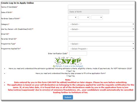 Nift Admission   Online Application Form