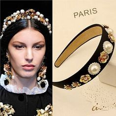 Headband Occident Style Hair Accessories Vintage Metal Flowers Pearls Hairbands for Women