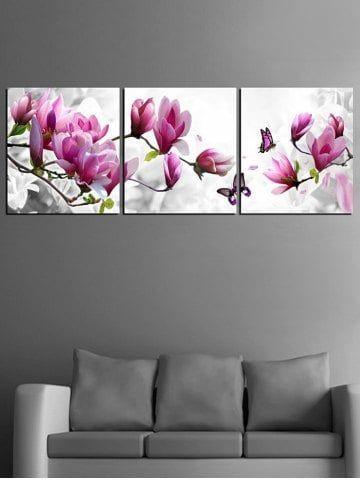 shop for multi 3pcs 24 inch no frame flowers and butterfly print unframed split canvas paintings onli wandmalerei ideen seelandschaft gemalde leinwand 150x100 40x60