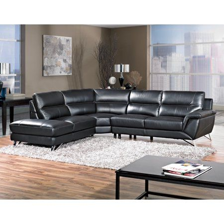 Black Bonded Leather Sectional Sofa Living Room Furniture White