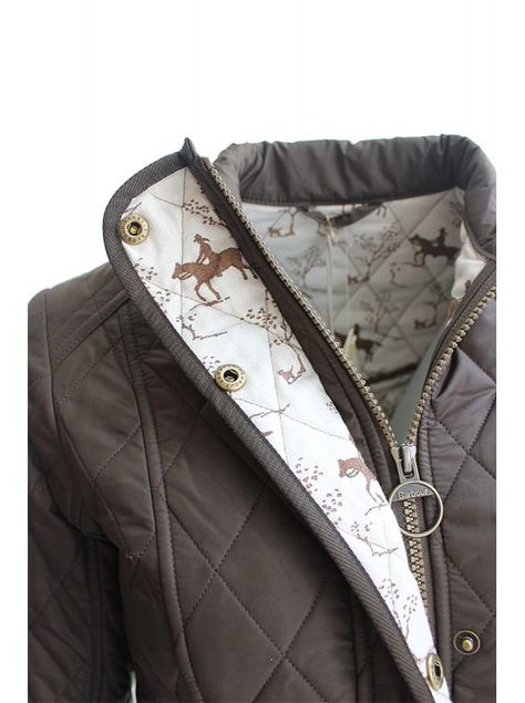 Barbour ladies Emily Bond horse print cavalry quilted jacket with <3 from JDzigner www.jdzigner.com