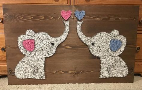 Twin Elephants String Art Sign Love Art Nursery decor | Etsy