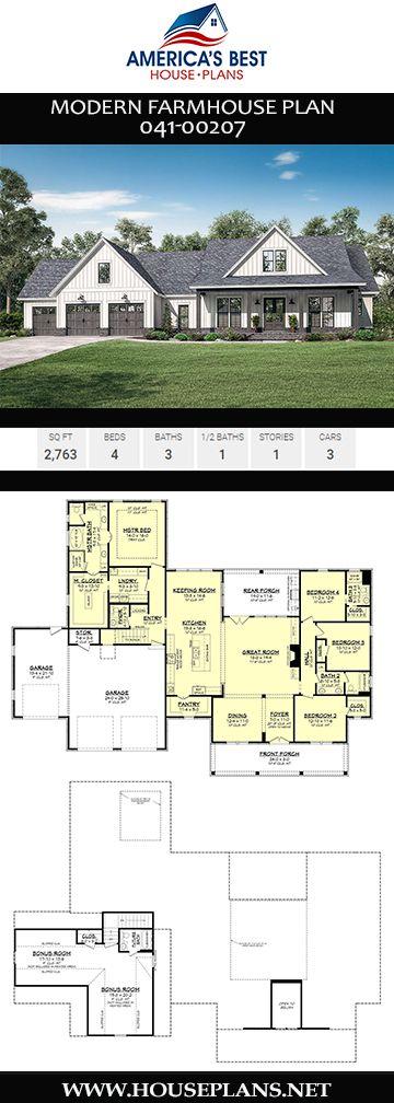 House Plan 041 00207 Modern Farmhouse Plan 2 763 Square Feet 4 Bedrooms 3 5 Bathrooms Modern Farmhouse Plans Basement House Plans Farmhouse Plans
