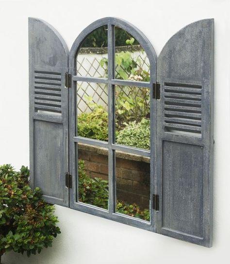 Arched Garden Glass Mirror Wooden Shutters Outdoor Illusion Window Antique Grey | eBay