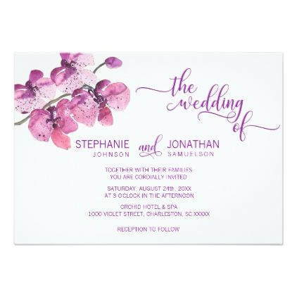 Watercolor Purple Floral Orchid Flowers Wedding Card Wedding Invitations Cards Custom Invita Wedding Cards Wedding Invitations Watercolor Wedding Invitations