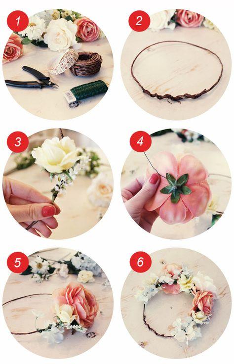 couronne fleurs cheveux fabriquer