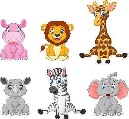 Vector Illustration Of Wild Animal Cartoon Collection Set Cartoon Animals Animals Wild Cute Animal Drawings