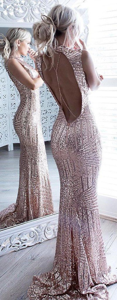 Mermaid Sparkle Beaded Sequins Bodice Backless Prom Dress For Senior T – prommode