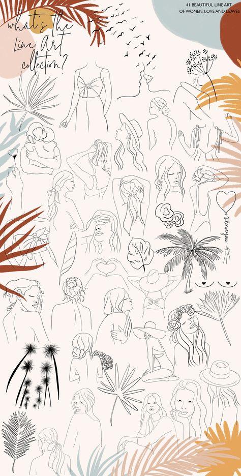 Line Art Collection by Ilenia's design on @creativemarket #AD