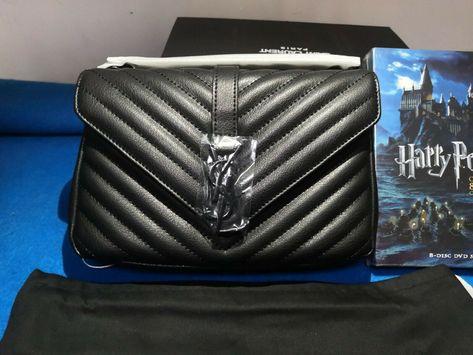 a0ba17ab734 YSL/ saint Laurent Classic medium MONOGRAM black lamb leather chain bag