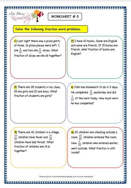 Grade 3 Maths Worksheets 7 9 Fraction Word Problems Fraction