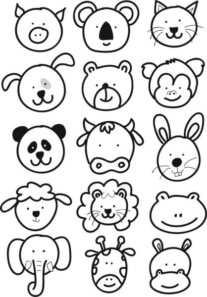 Cute Animal Faces Cartoon Kids Drawing In 2020 With Images