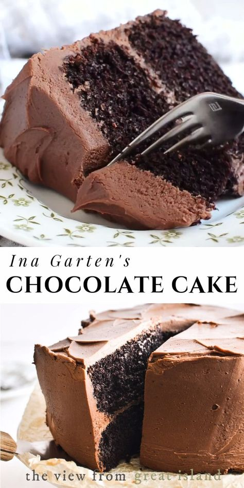 Ina Garten's Chocolate Cake! Ina Garten's Chocolate Cake!,► Food Group ◄ Ina Garten's Chocolate Cake recipe ~ it's a classic! When I hear the word dessert, this homey, rich, chocolatey cake is what springs. Ina Garten Chocolate Cake, Chocolate Recipes, Cake Chocolate, Classic Chocolate Cake Recipe, Chocolate Mousse Cake Filling, Buttermilk Chocolate Cake, Chocolate Cake Recipe No Coffee, Healthy Chocolate Cakes, Chocolate On Chocolate Cake
