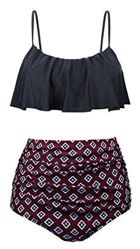 5975fbcd2de UniSweet Tankinis Swimwear For Women High Waisted Two Piece Swimsuit Womens  Bikini Set Bathing Suits Teens Girls UBKS060-N1-M