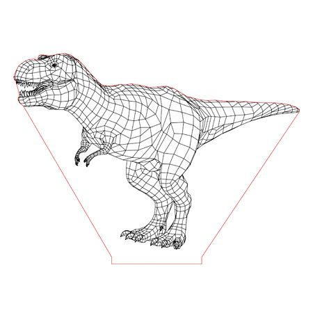 T Rex 3d Illusion Lamp Plan Vector File For Laser And Cnc 3bee Studio 3d Illusion Lamp Illusions 3d Illusions