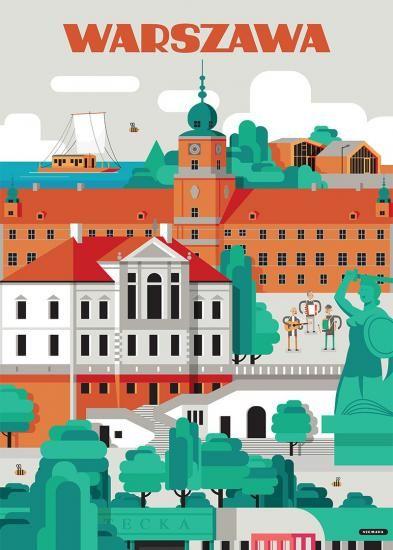 Warszawa Plakaty W 2019 Plakaty Z Podróży Vintage