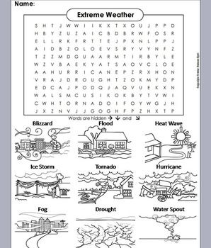 Severe Weather Word Search Worksheet Hurricane Tornado Drought