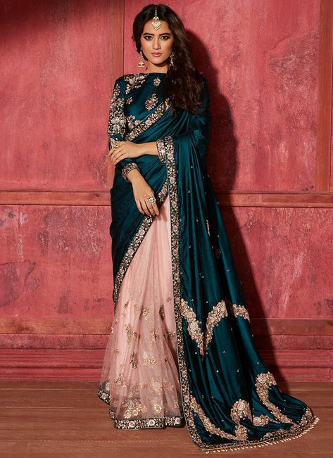 Teal and pink is a color combo that just cannot be beat! Floral embroideries and appliqués make this Teal and Light Pink Embroidered Saree… Sari Dress, The Dress, Indian Dress Sari, Indie Mode, Mode Ootd, Dresses Elegant, Beautiful Dresses, Stylish Sarees, Indian Outfits