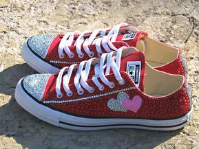 4548bd5380681 Hearts Rhinestone Sneakers in 2019 | Bethany | Sneakers, Shoes, Cute ...