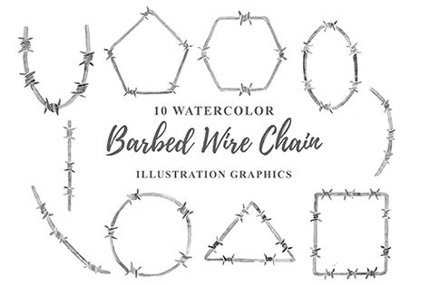 10 Watercolor Barbed Wire Chain PNG Illustration