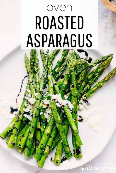 Perfectly seasoned oven roasted asparagus that's fresh, healthy and delicious. This simple side dish makes a great addition to any meal! #asparagus #roasted #ovenroasted #baked #veggies #roastedveggies #bakedveggies #vegetables #healthy #healthyrecipes #sides #sidedish #recipes #iheartnaptime