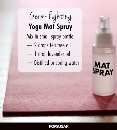 A DIY Spray to Keep the Yoga Mat Germ Free. Smells great and no chemicals:))!! #diygermspray #diyyogamatspray