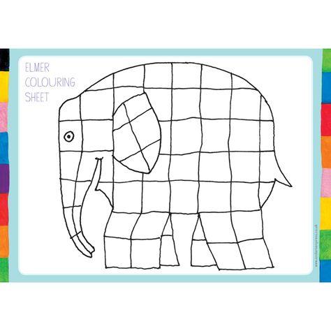 Elmer Colouring Sheet In 2020 Kolorowanka Plastyka