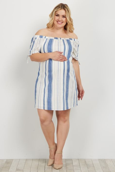8919bf9a874de Blue Striped Off Shoulder Linen Plus Dress
