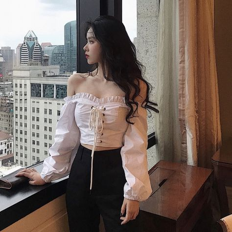 US $13.9 49% OFF|Genayooa Lace Up Womens Tops And Blouses Vintage White Shirt Women Long Sleeve Solid Blouse Korean Style Crop Top Women Sexy|Blouses & Shirts|   - AliExpress